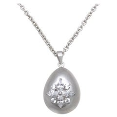 Egg-shape Marquis Flower Sterling Silver Pendant Necklace