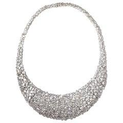 Bijoux Num Elegant Clustered Cubic Zirconia Sterling Silver Bib Necklace