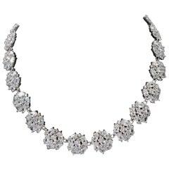 Bijoux Num Elegant Clustered Faux Diamond Sterling Silver Link Necklace
