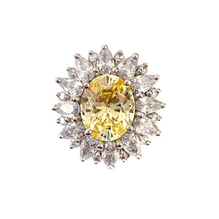 Contemporary Bijoux Num Fabulous Faux Canary Diamond Button Earrings For Sale