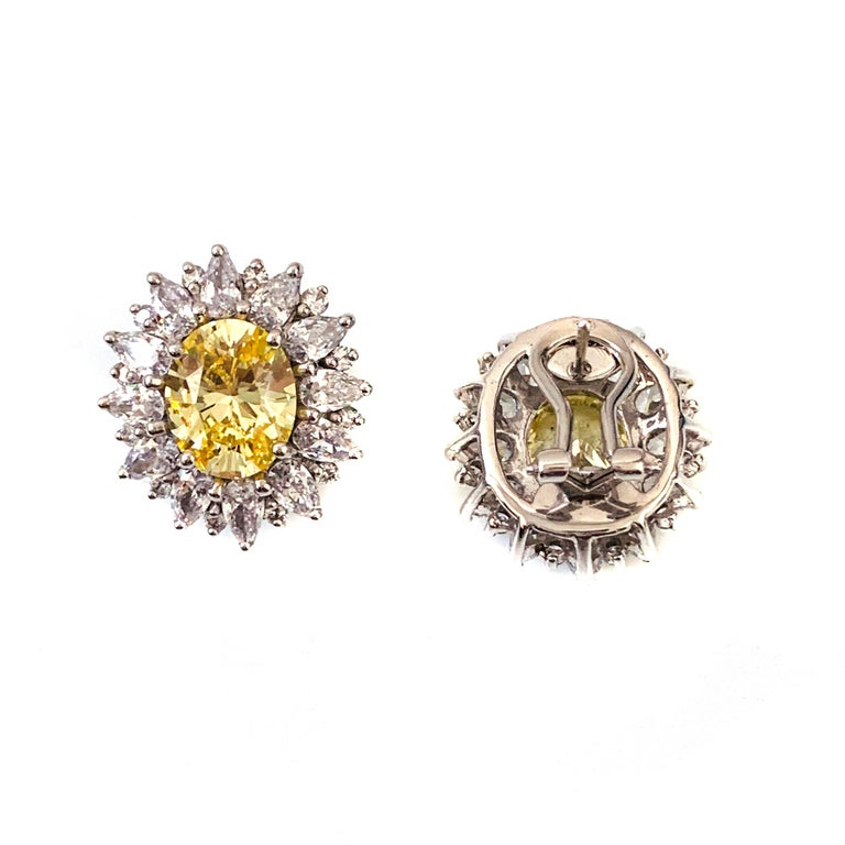 Oval Cut Bijoux Num Fabulous Faux Canary Diamond Button Earrings For Sale