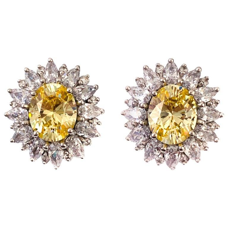 Bijoux Num Fabulous Faux Canary Diamond Button Earrings For Sale