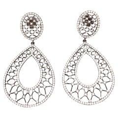 Bijoux Num Fabulous Pear-shape Lacy CZ Dangle Earrings