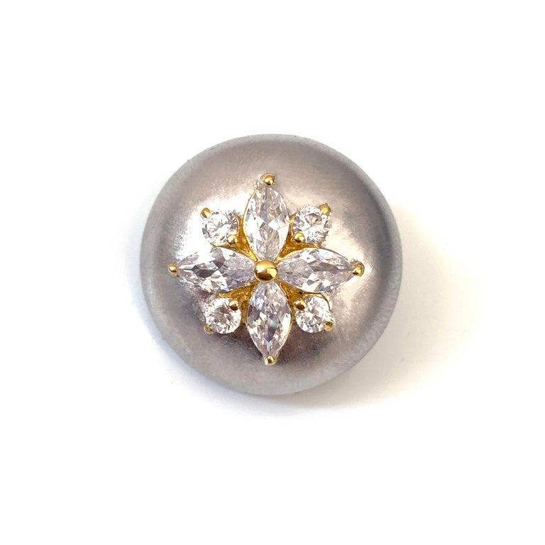 Oval Cut Bijoux Num Flower Faux Diamond Round Button Clip-on Earrings For Sale