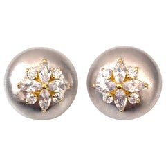 Bijoux Num Flower Faux Diamond Round Button Clip-on Earrings