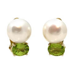Bijoux Num Freshwater Pearl and Peridot Clip Earrings