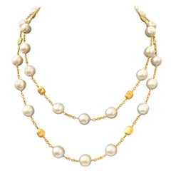 Bijoux Num Genuine Cultured Baroque Pearl Long Station Necklace
