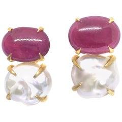 Bijoux Num Genuine Oval Ruby and Baroque Pearl Vermeil Earrings
