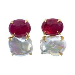 Bijoux Num Genuine Oval Ruby and Keishi Pearl Vermeil Earrings