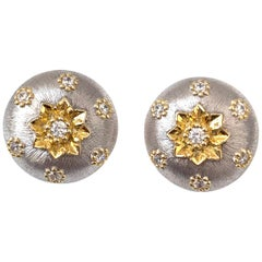 Hand-engraved Flower Pattern Round Button Clip-on Sterling Silver Earrings