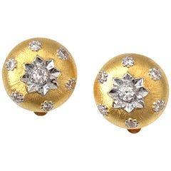Hand-engraved Flower Pattern Round Button Clip-on Vermeil Earrings