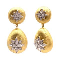 Bijoux Num Hand-engraved Marquis Flower Drop Earrings