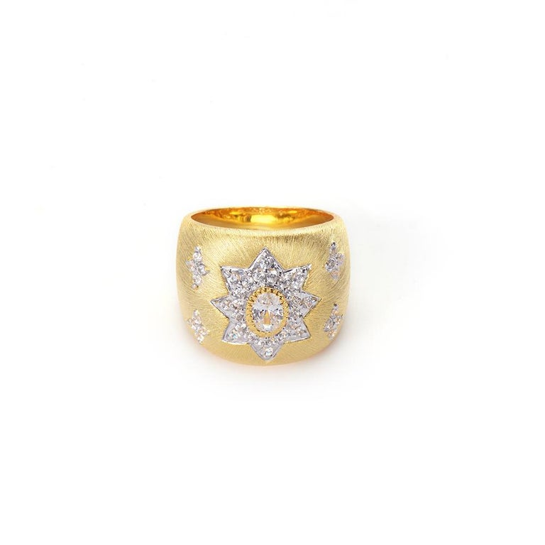 Bijoux Num Hand-engraved Star Pattern Vermeil Bombe Ring  This beautiful bombe ring features 41 pcs of top quality oval and round faux diamond cubic zirconia,  handset in 18k yellow gold vermeil sterling silver, and handcrafted Italian