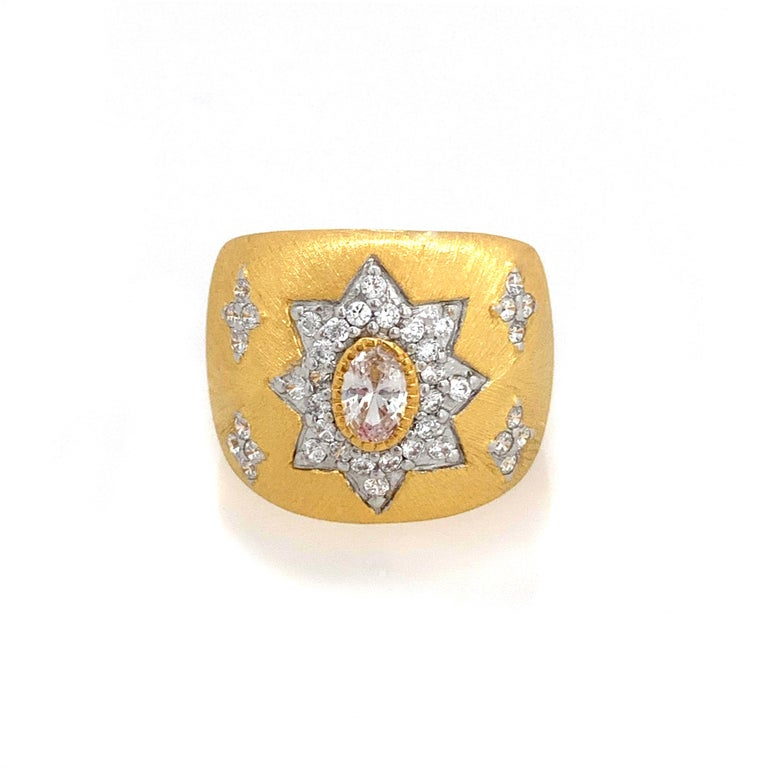 Bijoux Num Hand-engraved Star Pattern Vermeil Bombe Ring In New Condition For Sale In Los Angeles, CA