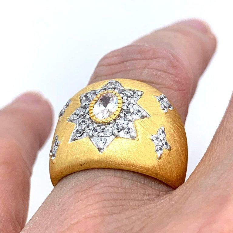 Bijoux Num Hand-engraved Star Pattern Vermeil Bombe Ring For Sale 1