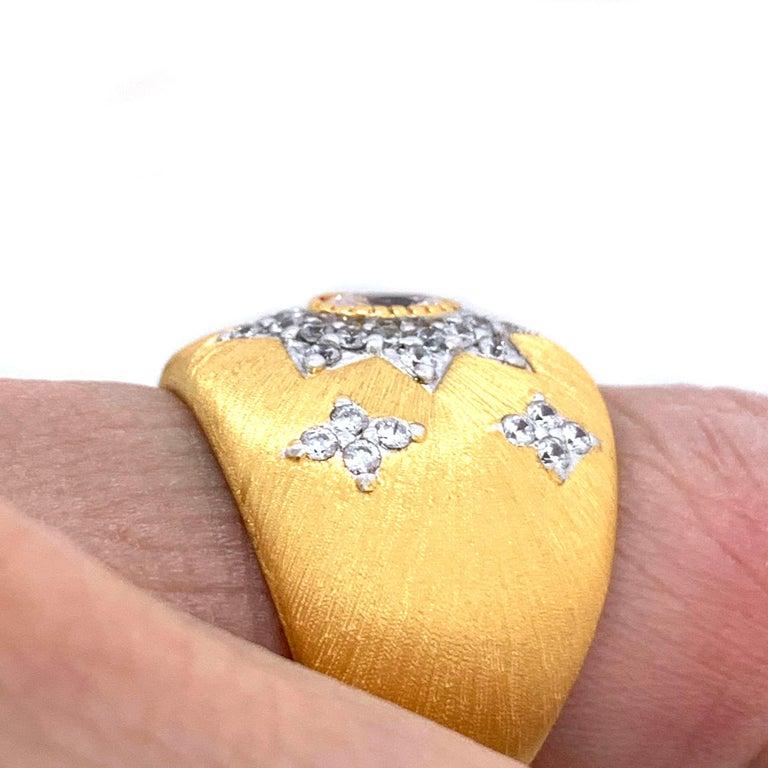Bijoux Num Hand-engraved Star Pattern Vermeil Bombe Ring For Sale 2
