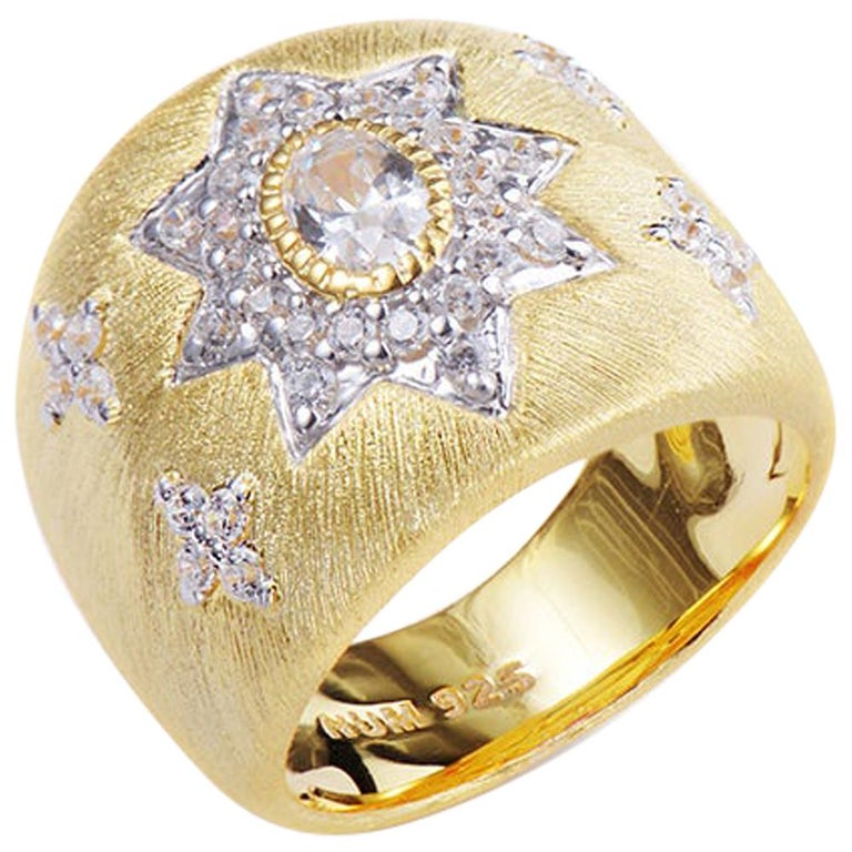 Bijoux Num Hand-engraved Star Pattern Vermeil Bombe Ring For Sale