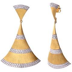 Bijoux Num Hand-engraved Sterling Silver CZ Large Fanshape Drop Earrings