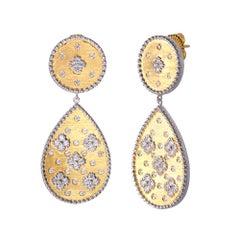 Bijoux Num Clover Pattern Pear Shape Drop Vermeil Earrings