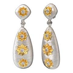 Bijoux Num Hand-engraved Sterling Silver CZ Teardrop Clip-on Earrings