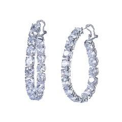 Bijoux Num Large CZ sterling silver Hoop Earrings