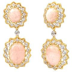 Bijoux Num Large Morganite &  CZ Gilded Sterling Silver Drop Earrings