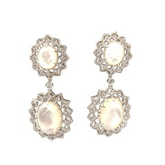 Bijoux Num Large Mother of Pearl &  CZ Sterling Silver Drop Earrings