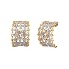 Bijoux Num Large Oval CZ sterling silver Half Hoop Clip-on Earrings