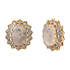 Bijoux Num Large Oval Moonstone and CZ sterling silver Clip-on Earrings