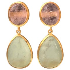 Bijoux Num Morganite and Prehnite Drop Earrings
