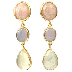 Bijoux Num Morganite Chalcedony and Prehnite Vermeil Earrings