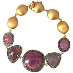 Bijoux Num Natural Ruby with Rough Diamond Link Bracelet