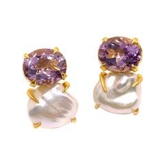 Bijoux Num Oval Amethyst and Keishi Pearl Vermeil Earrings