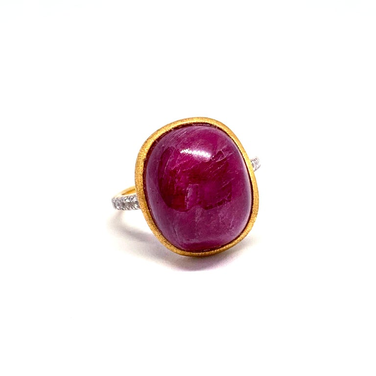 Contemporary Oval cabochon Genuine Ruby Ring For Sale