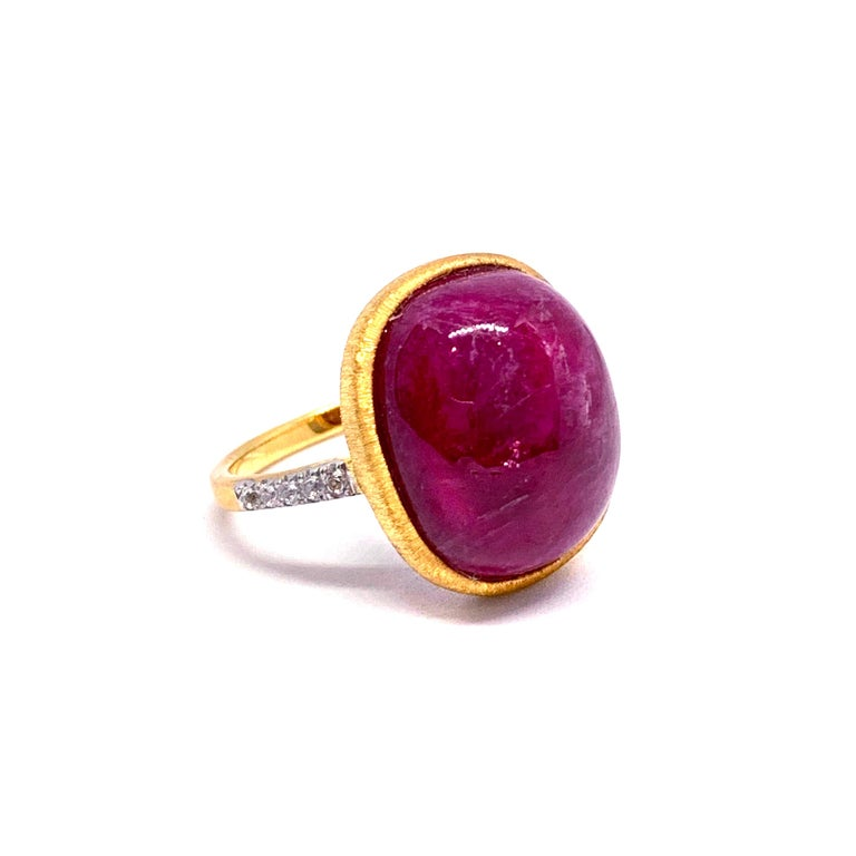 Oval Cut Oval cabochon Genuine Ruby Ring For Sale