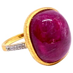Oval cabochon Genuine Ruby Ring