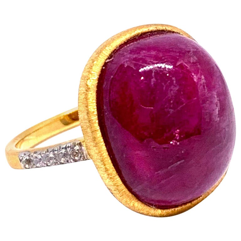 Oval cabochon Genuine Ruby Ring For Sale