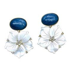Bijoux Num Oval Kyanite and Carved Mother of Pearl Flower Drop Vermeil Earrings