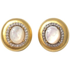 Bijoux Num Oval Mother of Pearl Oval Button Clip-on Earrings