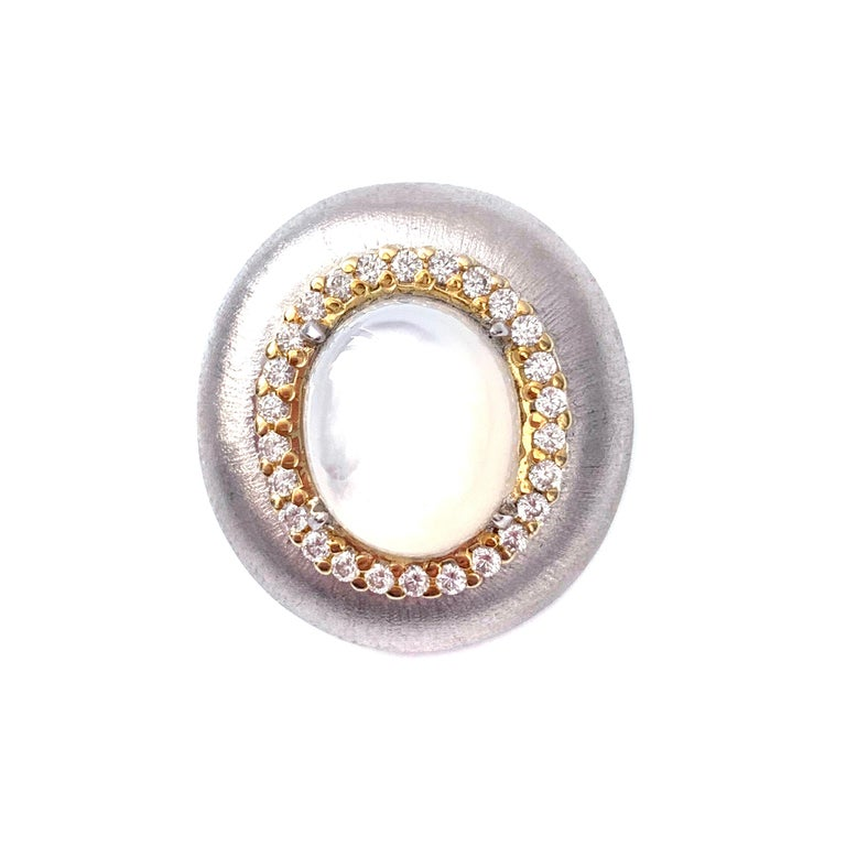 Contemporary Bijoux Num Oval Mother of Pearl Oval Button Two-tone Clip-on Earrings For Sale