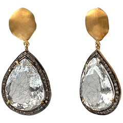 Bijoux Num Pear Shape Rutilated Quartz with Rough Diamond Drop Earrings
