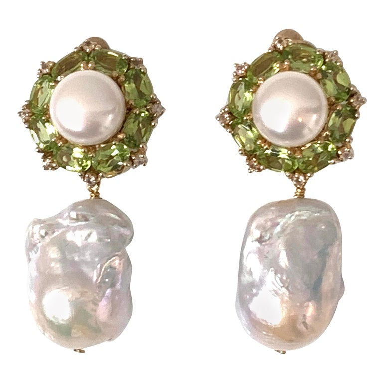 Bijoux Num Pearl Peridot White Sapphire and Baroque Pearl Drop Earrings For Sale