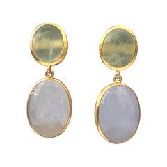 Bijoux Num Prehnite and Chalcedony Vermeil Earrings