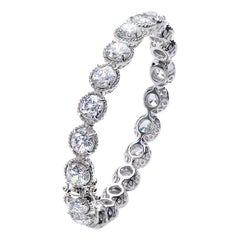 Bijoux Num Skinny All Around Round CZ Platinum-plated Sterling Silver Bracelet