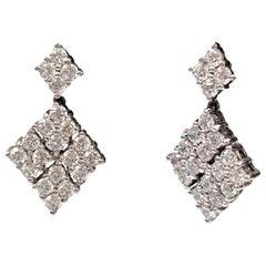 Bijoux Num Small Diamond Shape CZ Black Rhodium Silver Dangle Earrings
