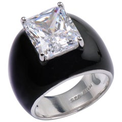 Bijoux Num Sterling Silver 6.5ct Faux Diamond Black Enamel Bombe Dome Ring