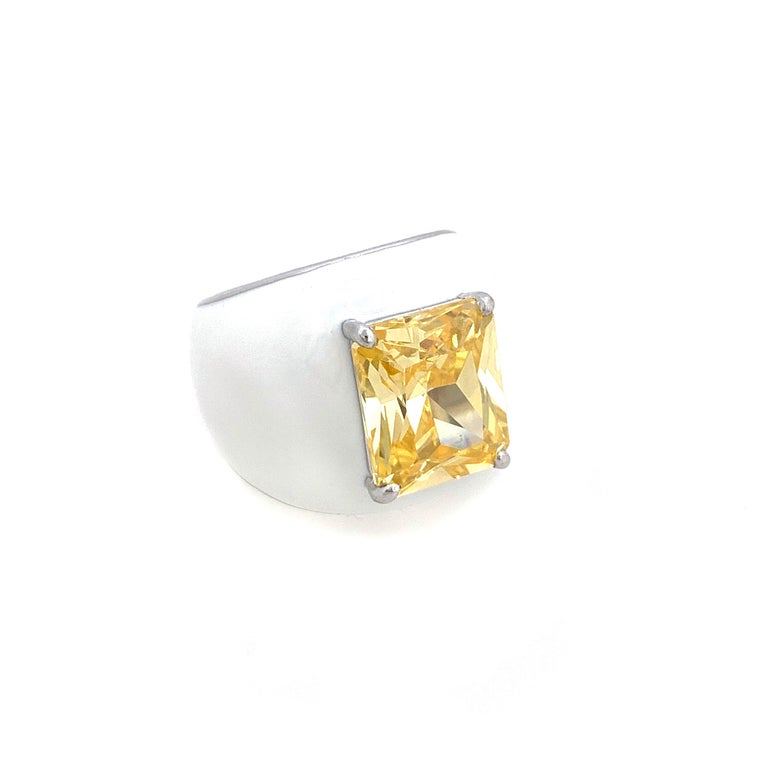 Modern Bijoux Num Sterling Silver Faux Canary Diamond White Enamel Bombe Dome Ring For Sale