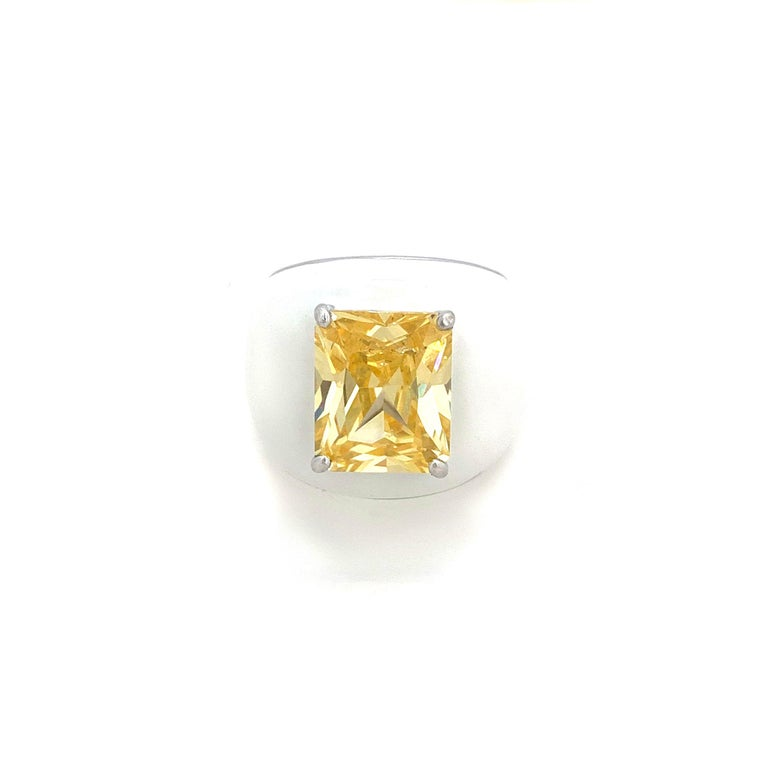 Radiant Cut Bijoux Num Sterling Silver Faux Canary Diamond White Enamel Bombe Dome Ring For Sale