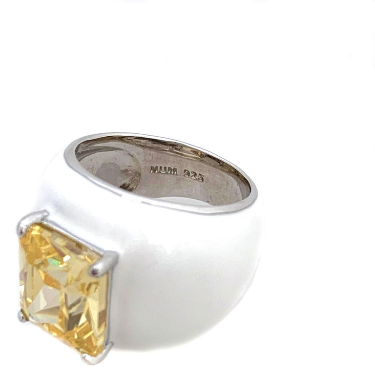 Bijoux Num Sterling Silver Faux Canary Diamond White Enamel Bombe Dome Ring In New Condition For Sale In Los Angeles, CA