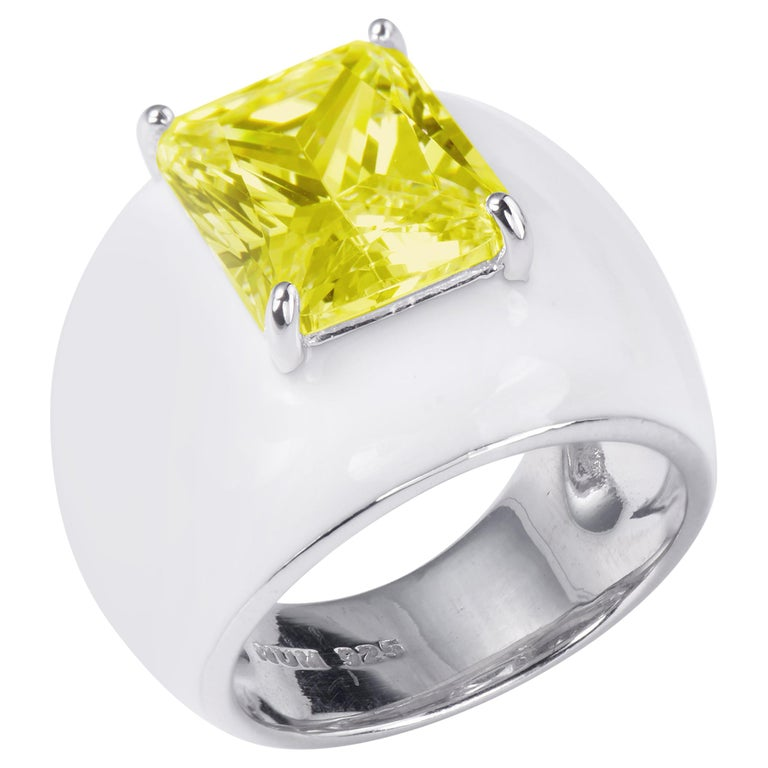 Bijoux Num Sterling Silver Faux Canary Diamond White Enamel Bombe Dome Ring For Sale